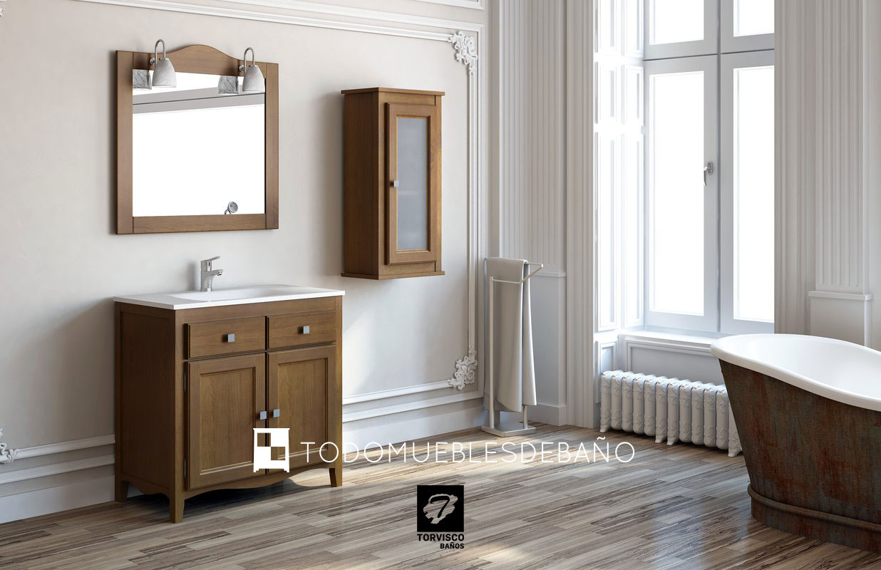 Gu a de decoraci n muebles de ba o r sticos for Muebles de lavabo de madera
