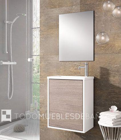 Mueble de baño pequeño y suspendido de aspecto nórdico