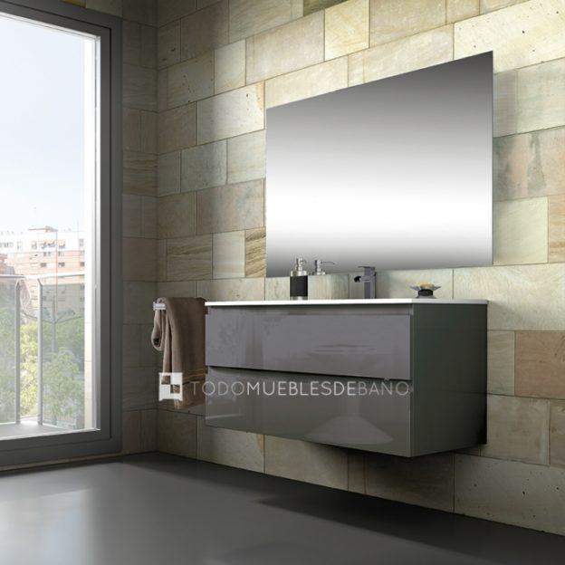 Mueble de baño Alpine de alta gama moderno y suspendido con dos cajones