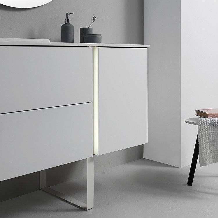 Conjunto mueble de baño Royo Group Go on suspendido con altavoz Bluetooth y luz integrada lavabo Moon desplazado izquierda 90 cm