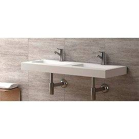 Lavabo Ambar Lip suspendido de doble seno Solid Surface 120 cm de Coycama