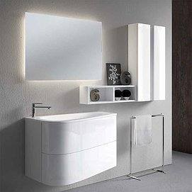 Conjunto Mueble de baño Loop suspendido 2 cajones 90cm + lavabo cerámi loop + espejo arlequín led perimetral + Colgar decorativo Stack de Inve. Color blanco brillo