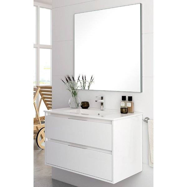 Blanco brillo  - Conjunto mueble de baño Decorbath Bolton 3 suspendido 2 cajones