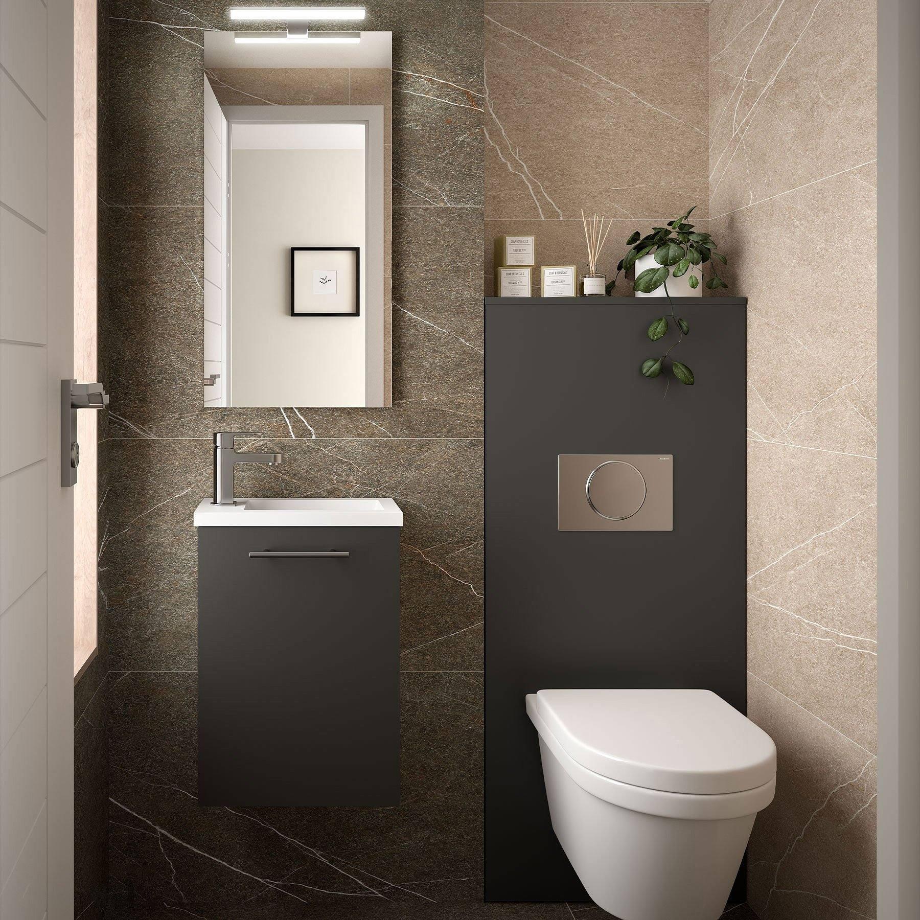 Conjunto mueble de baño fondo reducido 25 cm de Salgar ...