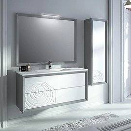 Mueble de baño suspendido Decor Rosa 80 cm acabado plata color frontal Nieve de Viso Bath