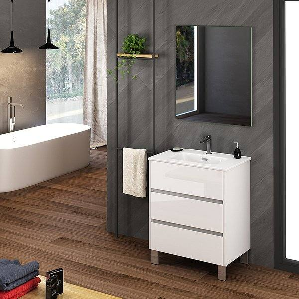Blanco brillo - Mueble de baño Escorpio de Coycama con patas