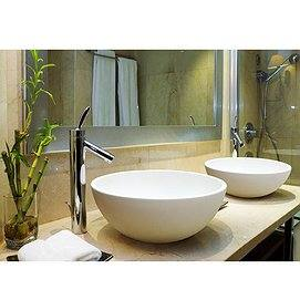 Lavabo sobre encimera blanco doble seno Solid Surface Top