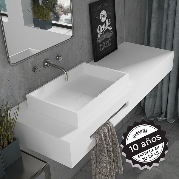 Lavabo sobre encimera 50x32x8cm Solid Surface Square Lines Decorbath
