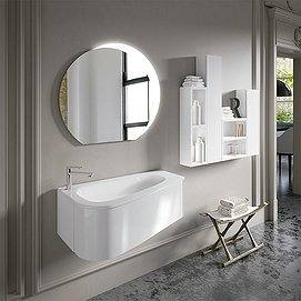 Conjunto Mueble de baño Loop suspendido 1 cajón 90cm + lavabo cerámi loop + espejo eclipse + Colgar decorativo Stack de Inve. Color blanco brillo