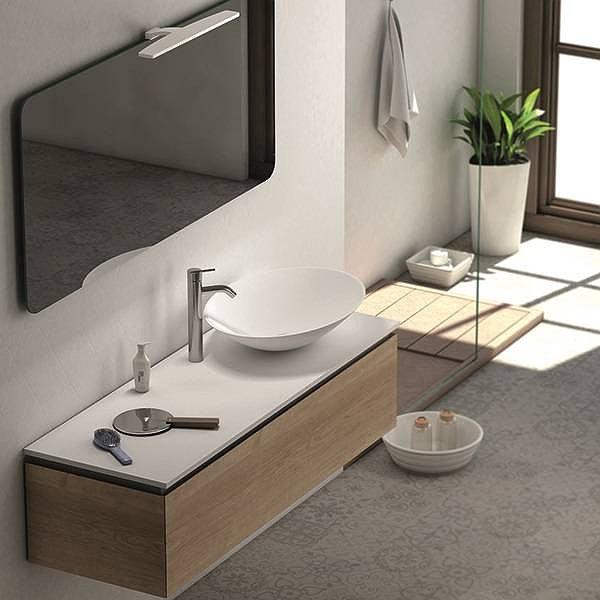 Mueble de ba o sigma 1 suspendido con tapa de coycama for Muebles de bano con lavabo sobre encimera