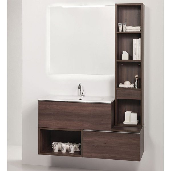 091d2dd952ad Conjunto mueble de baño de Madero + lavabo + espejo + columna Tetris ...