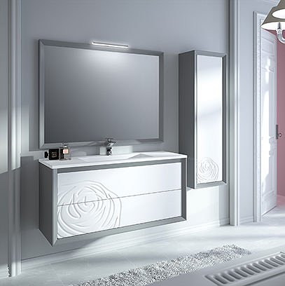 Mueble de baño suspendido Decor Rosa 80 cm acabado gris color frontal Nieve de Viso Bath