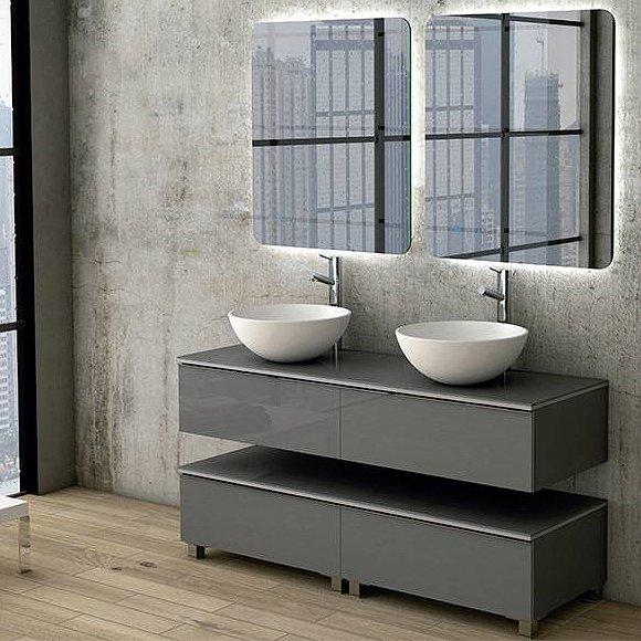 Muebles De Bano Suspendidos Baratos.Mueble De Bano Duo I Suspendido Sobre Encimera Con Tapa Mismo Material Que El Mueble 140cm De Coycama