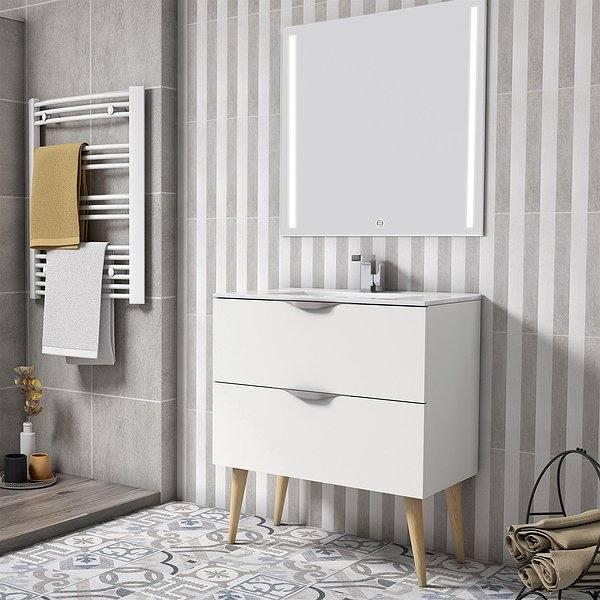 cbf8bcf7aa18 Conjunto mueble de baño Nórdico blanco 2 cajones + lavabo ...
