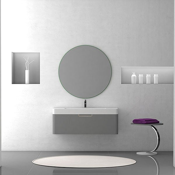 Mueble de baño Strip de Coycama gris intenso mate + lavabo 1 seno Strip + espejo redondo Strip