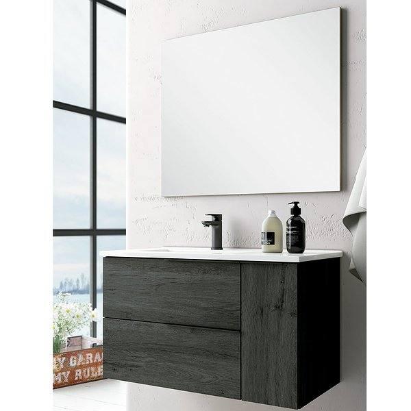 66b996e74cb1 Conjunto mueble de baño Decorbath Oban suspendido 2 cajones 1 puerta lavabo  desplazado a izquierda