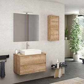 Mueble de baño Praga 2 cajones color roble natural con lavabo estambul y espejo Sun con aplique esther. Auxiliar joker