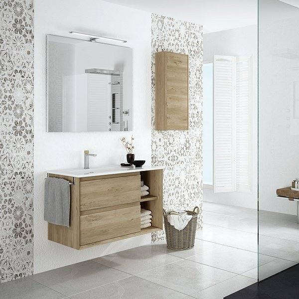 Mueble de baño Hole color roble natural de Coycama lavabo onix new, espejo sun con aplique sofía y  módulo joker