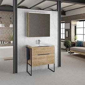 Mueble de baño Galsaky con patas de Coycama roble natural, lavabo new onix, camerino flash