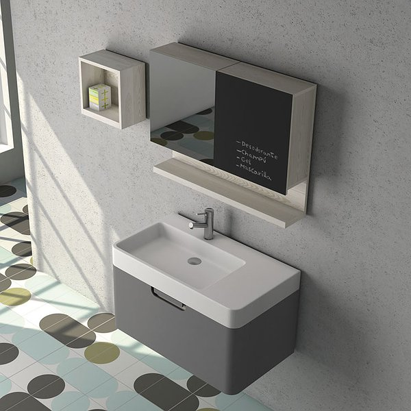 Conjunto Mueble de baño Strip de Coycama gris intenso mate + lavabo Strip + camerino Strip y estante + estantería Strip